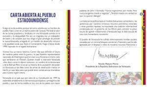 Venezuela: Lettre ouverte du Président Nicolás Maduro au peuple des Etats-Unis
