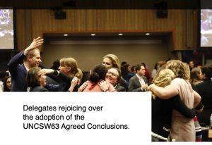 Résultats positifs de l'UNCSW63 concernant les droits fondamentaux des femmes en matière de systèmes de protection sociale, de services publics de qualité, y compris l'éducation, et d'infrastructures durables