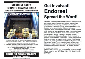 USA: Albuquerque March and Rally Against Hate! Sunday, Feb. 21 at 2pm at Albuquerque Civic Plaza