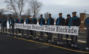 USA: We come to the gates of Hancock Drone Base today to install a memorial of Jerry Berrigan.