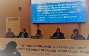 World body of parliaments discusses nuclear-risk-reduction and disarmament