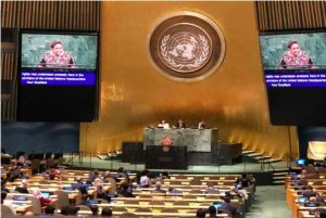 Rigoberta Menchú speaks at the UN about obstacles to the culture of peace