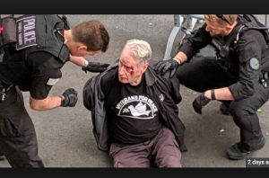 USA: Veterans For Peace Board President Gerry Condon was violently arrested in front of the Venezuelan Embassy yesterday afternoon attempting to deliver food to people inside.