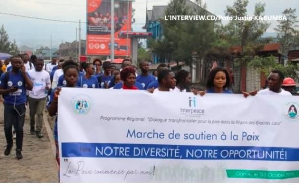 Young people from DRC and Rwanda demonstrate in Goma for peace in the sub-region