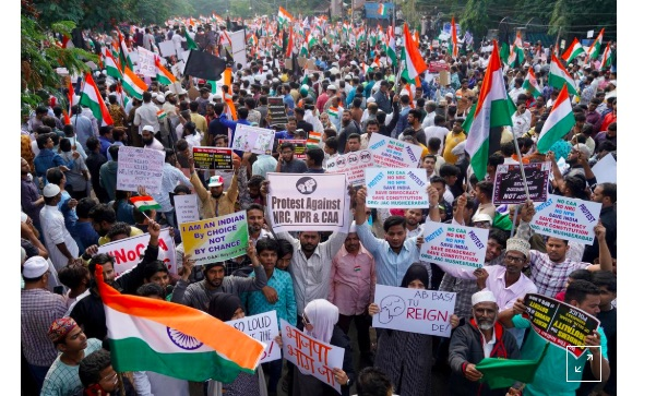 Tens of thousands march in southern India to protest citizenship law