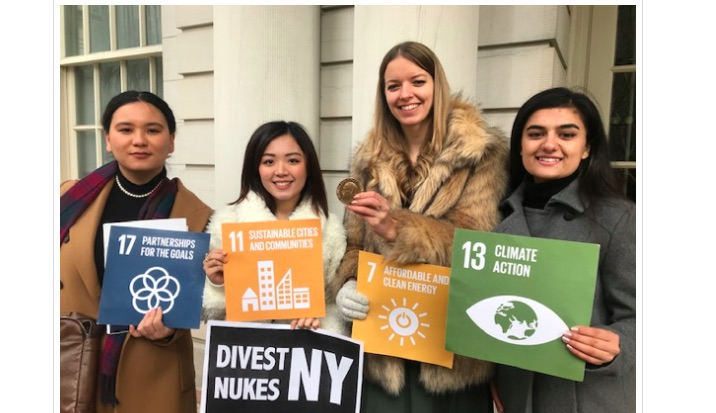 Youth representatives speak out for Nuclear Disarmament at the NY City Hall