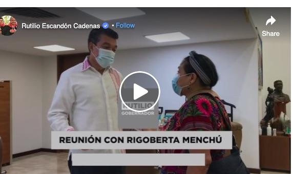 Sostiene Rutilio Escandón encuentro con Rigoberta Menchú, Premio Nobel de la Paz