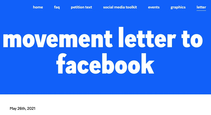 Movement Letter to Facebook